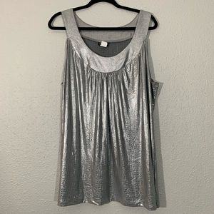 Perseption Woman Silver Sleeveless Blouse size 2x
